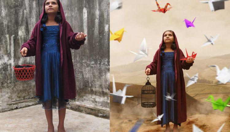 Girl & Her Paper Cranes Photoshop Manipulation Tutorial